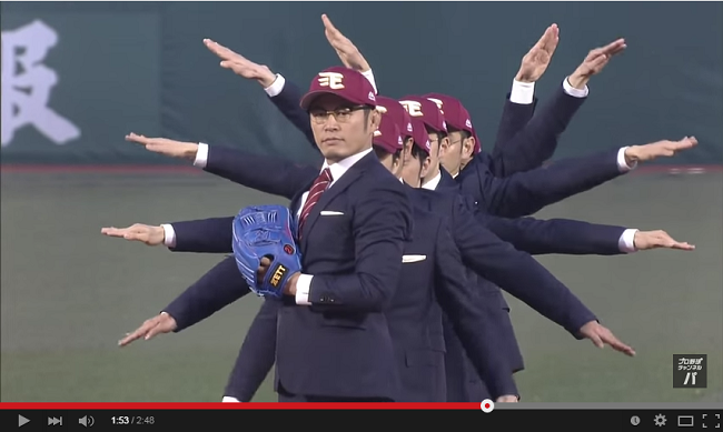 Robotic dancing troupe World Order kicks off the new baseball season with seven-man pitch 【Video】